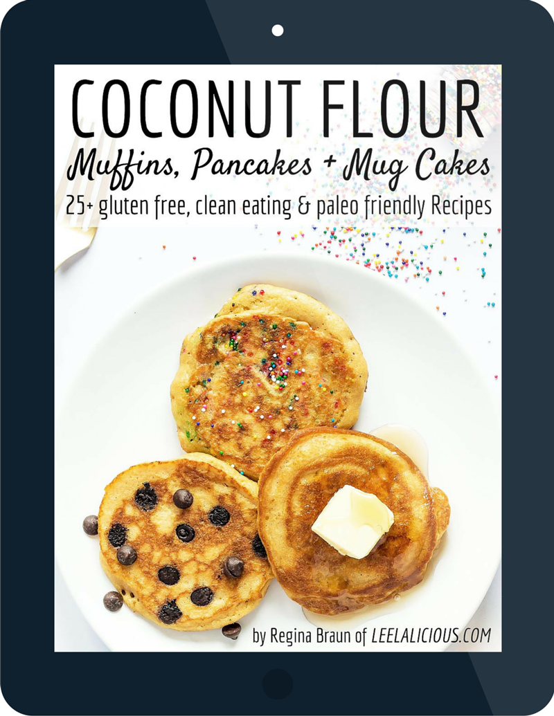 Coconut Flour e-book muffins pancakes and mug cakes giveaway by regina braun from leelalicious.com