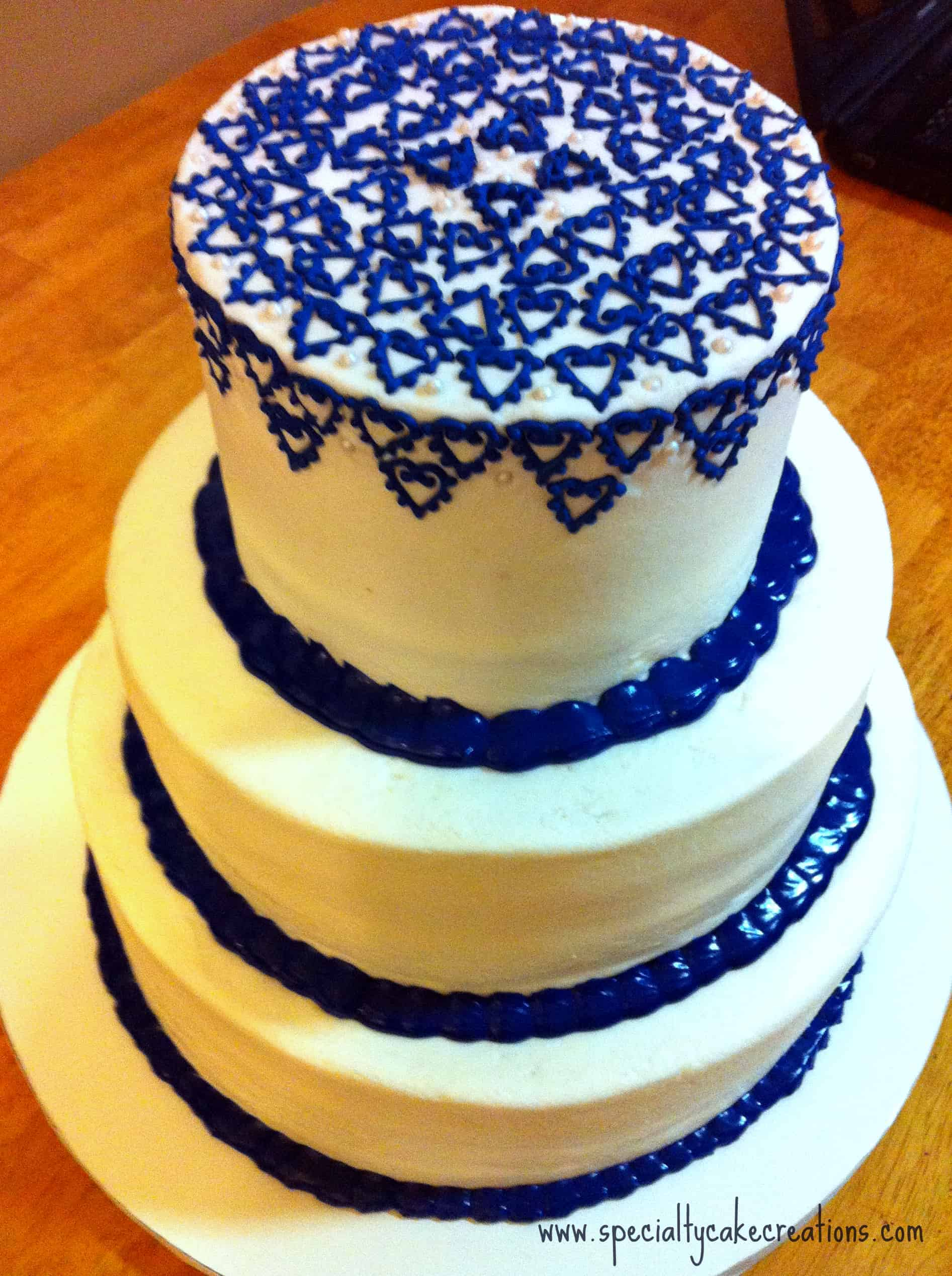 Royal Blue Lattice Wedding Cake