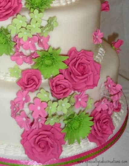Hot Pink And Lime Green Cascading Flowers Wedding Cake