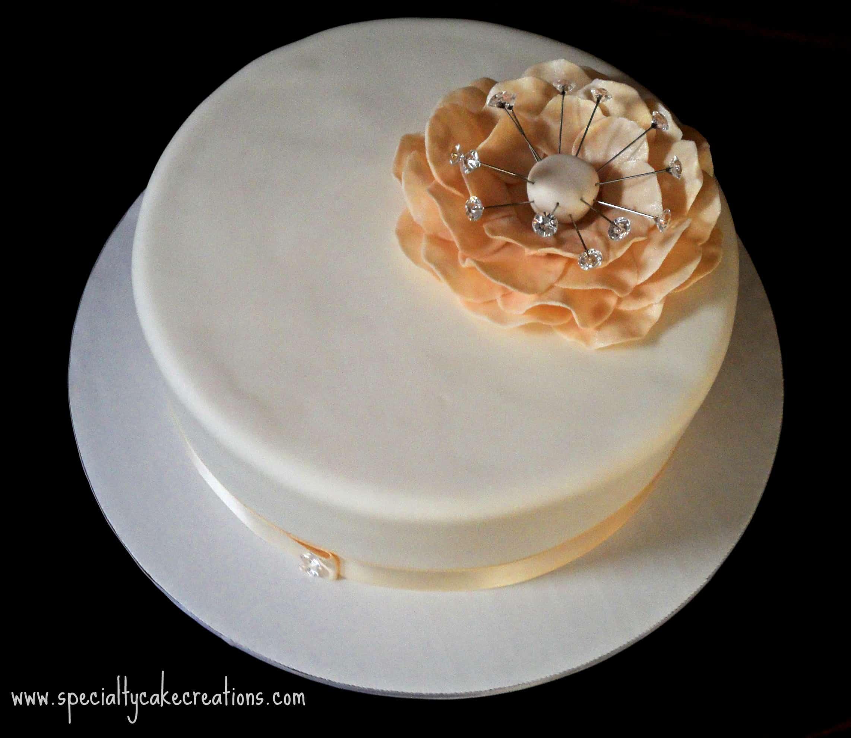 Ivory Fantasy Flower Wedding Cake – LeelaLicious