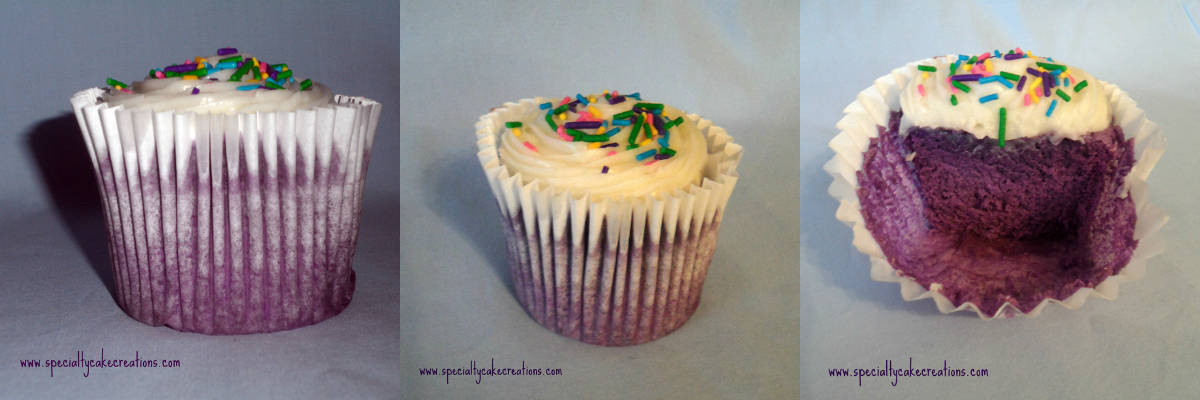 Three Images of Ube Cupcakes
