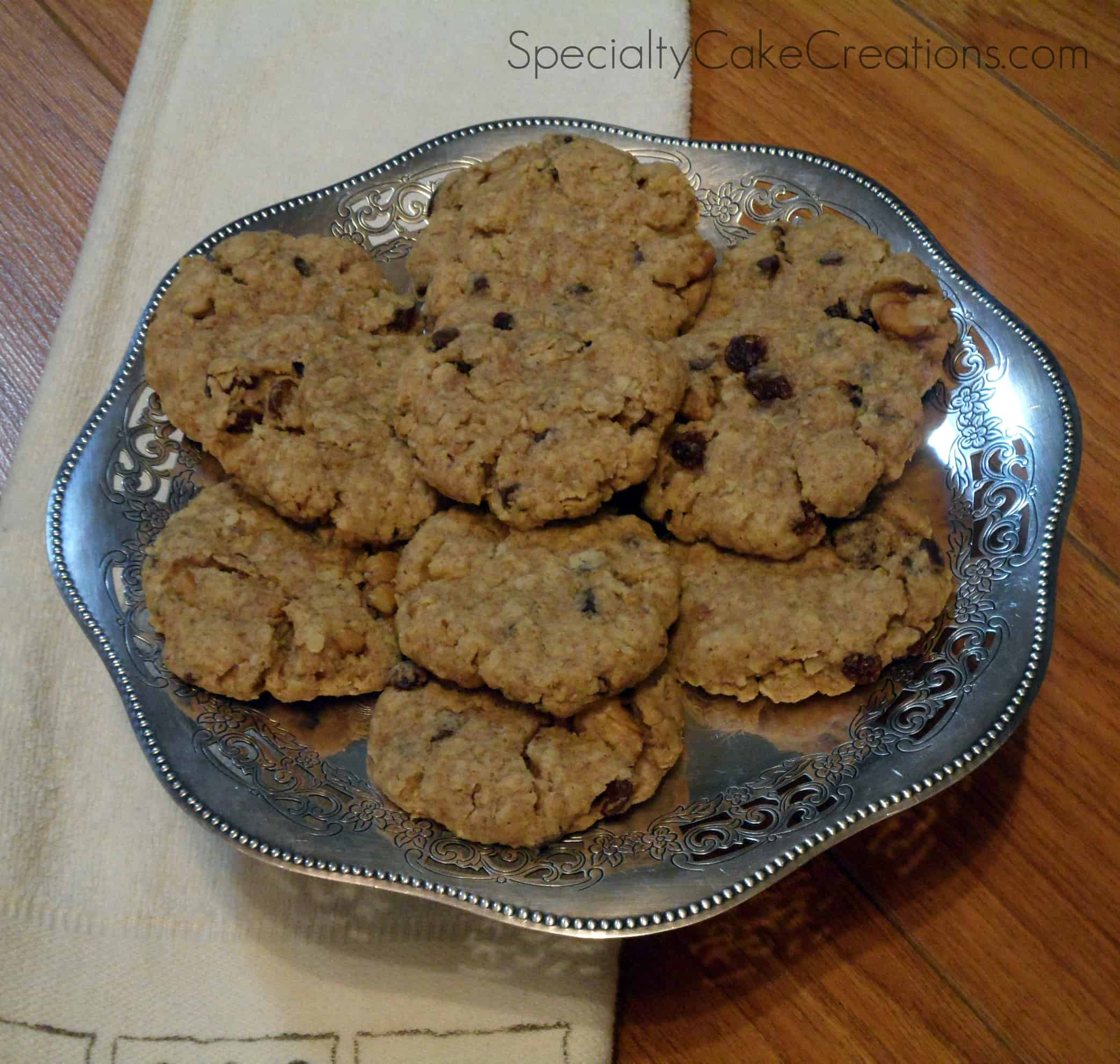 Oatmeal Cookies in Silver Bowl