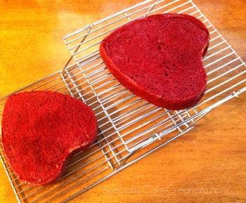 Heart-shaped Red Velvet Cakes