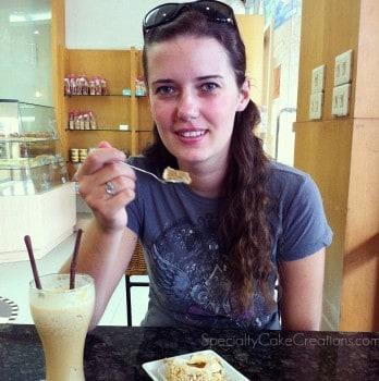 Woman Eating Swiss Roll