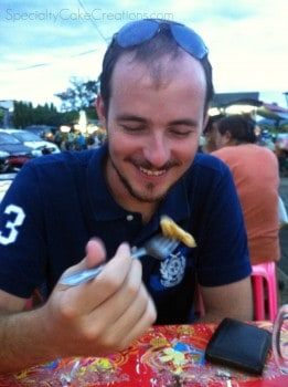 Man Eating Thai Pancake