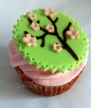 Cherry Blossom Topper on Cupcake
