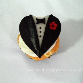 Cupcake with Groom Topper
