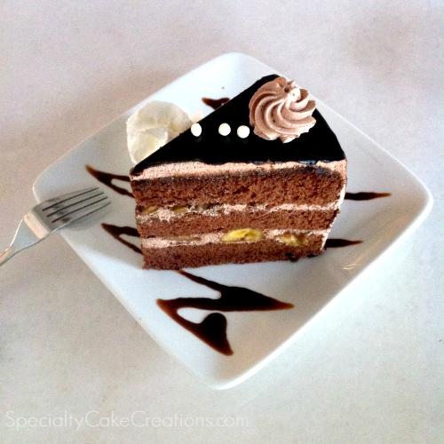 Slice of Banana Chocolate Cake