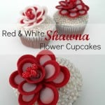Red and White Shawna Flower Cupcake Toppers
