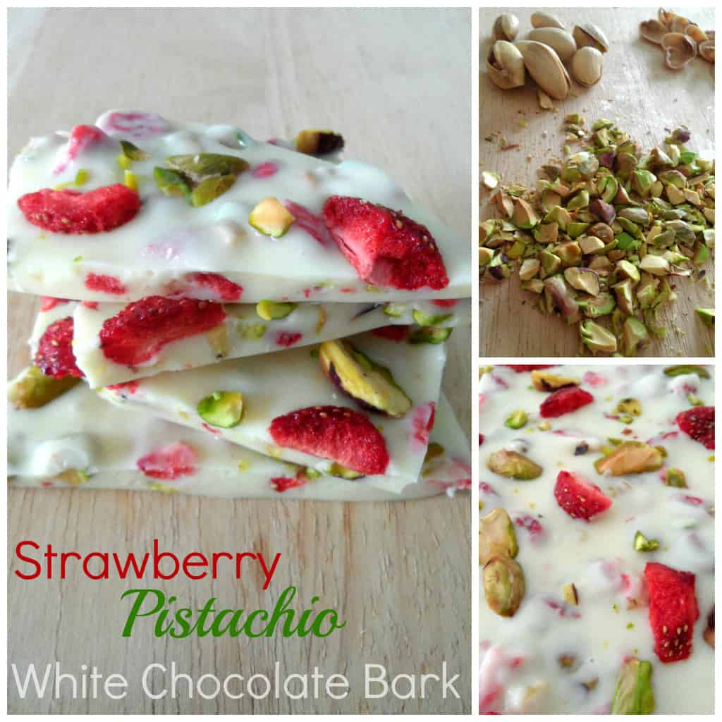 Strawberry Pistachio White Chocolate Bark