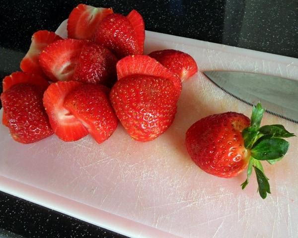 Slicing Fresh Strawberries