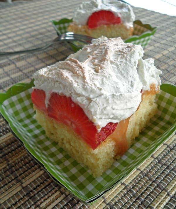 Close-up of Strawberry Meringue Cake