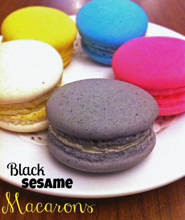 Plate of Black Sesame Macarons