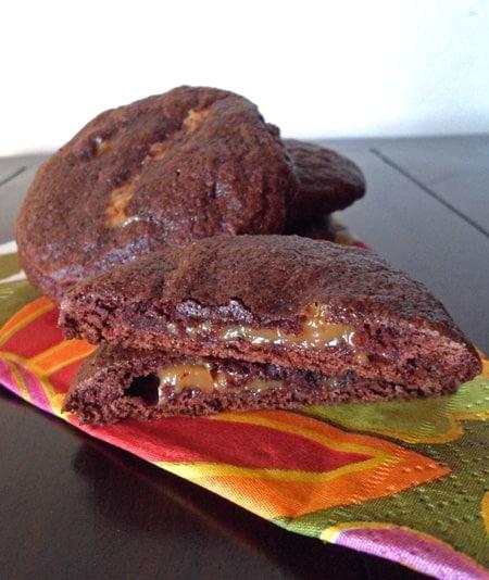 Brownie Cookies Oozing Caramel