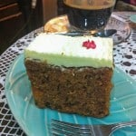 Square Piece of carrot cake with cream cheese icing