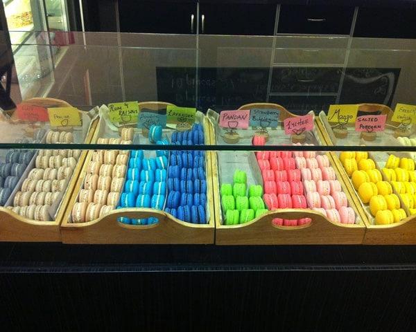 Display of Colourful Macarons