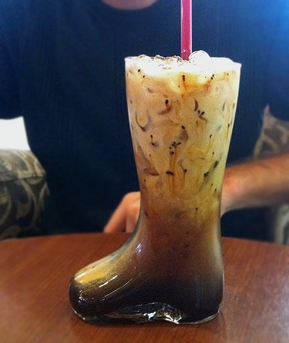 there. A boot full of coffee. They call this iced drink Mexican Coffee ...