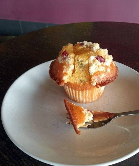 Bite from Cranberry Orange Muffin