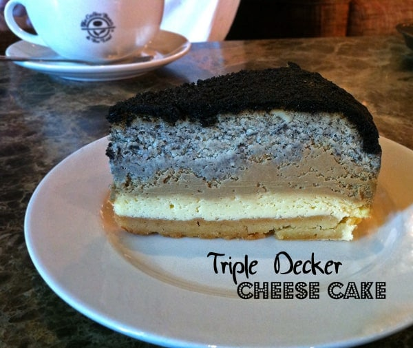 Triple Decker Cheesecake on Plate