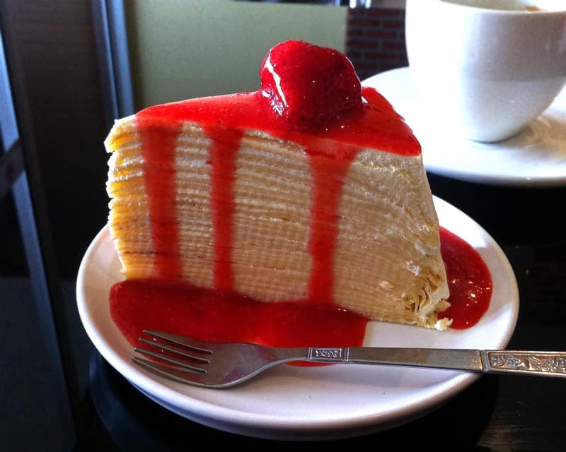 Crepe Cake Strawberry Sauce