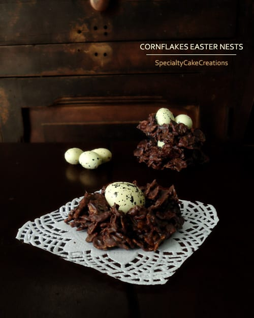 Chocolate Cornflakes Easter Nests that consist of only 3 ingredients and come together in no time. | SpecialtyCakeCreations