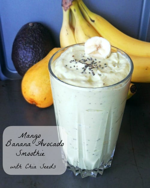 Mango Banana Avocado Smoothie with Chia Seeds | leelalicious.com