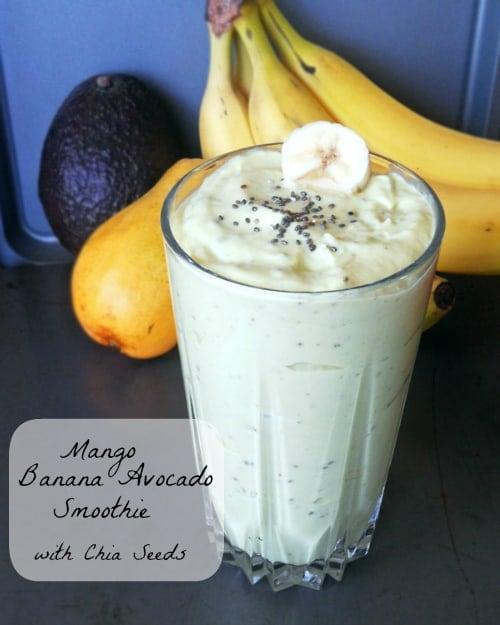 Mango Banana Avocado Smoothie with Chia Seeds | leelalicious.com