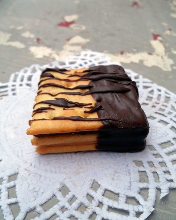 Three Saltines with Chocolate