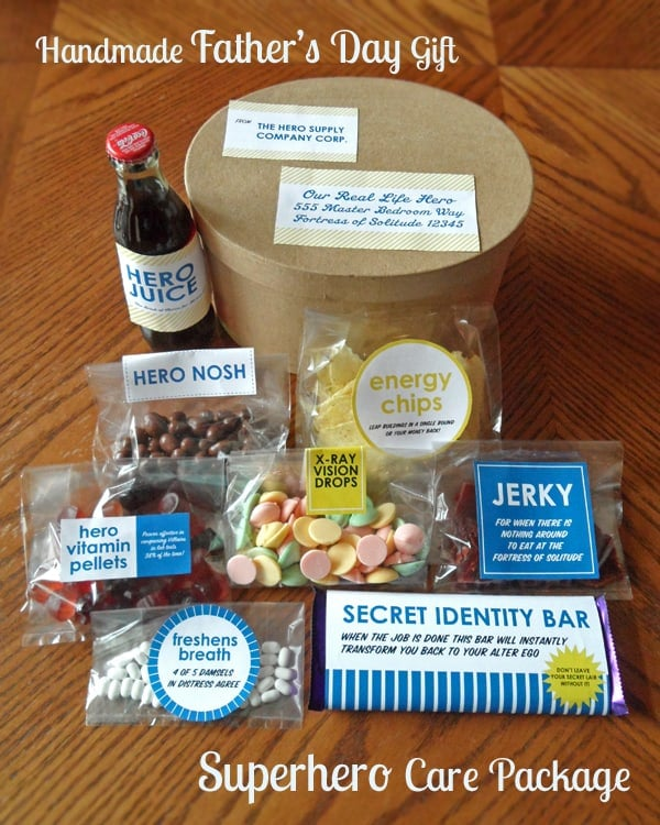 Homemade Father's Day Gift - Superhero Care Package from leelalicious.com #cbias