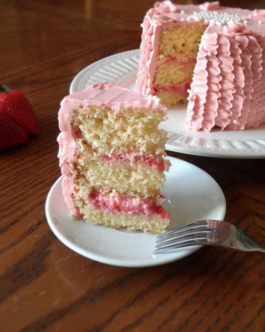Upright Strawberry Ruffle Cake Slice