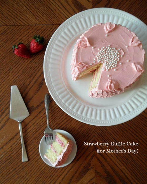 Strawberry Ruffle Cake for Mothers Day | leelalicious.com