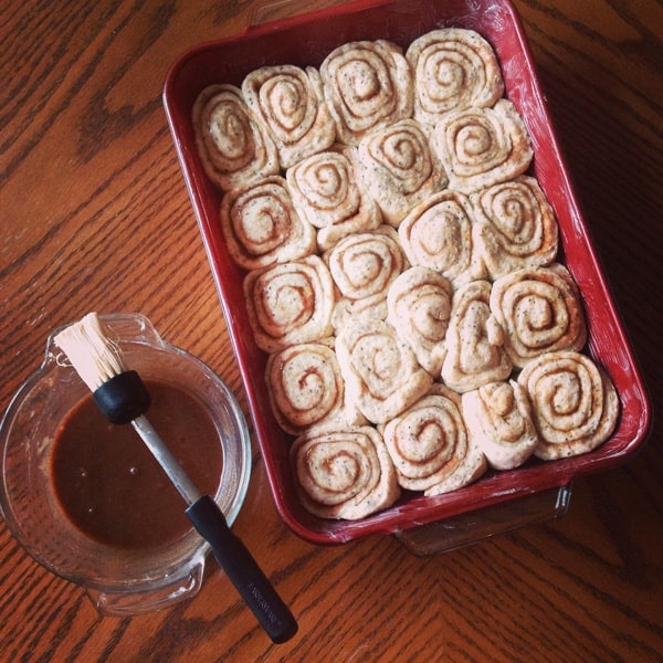 Unbaked Cinnamon Buns in Dish