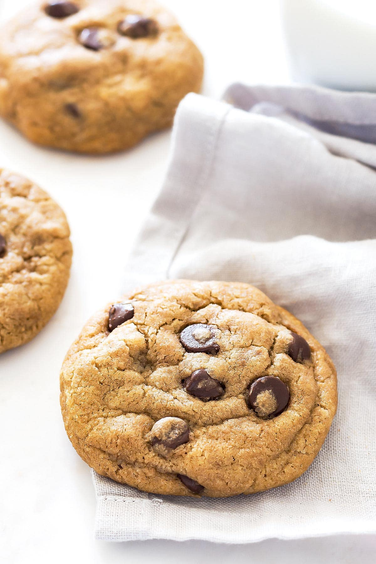 Close up of thick chocolate chip cookie