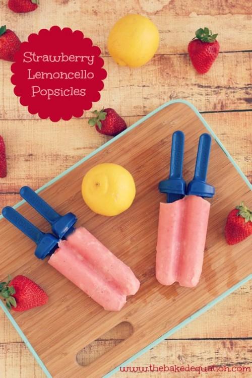 Strawberry Lemoncello Popsicles