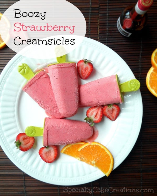 Boozy Strawberry Creamsicles on Plate