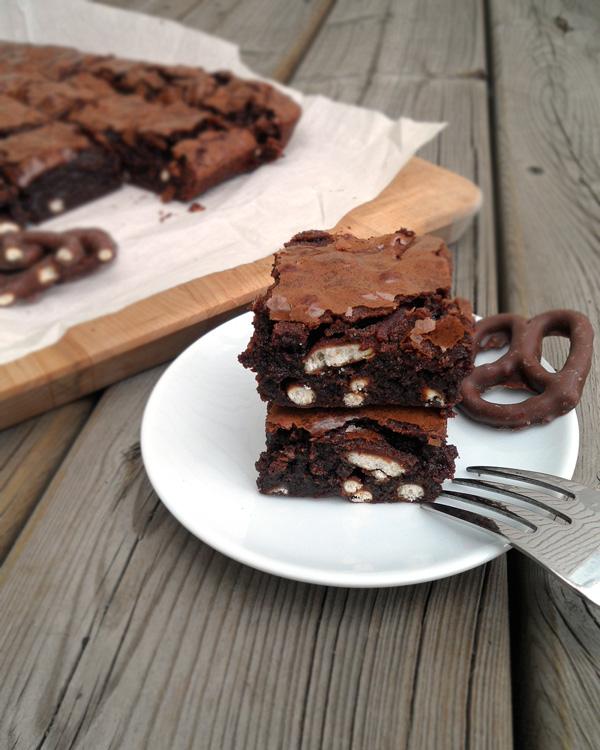 Stack of Fudge Pretzel Brownies