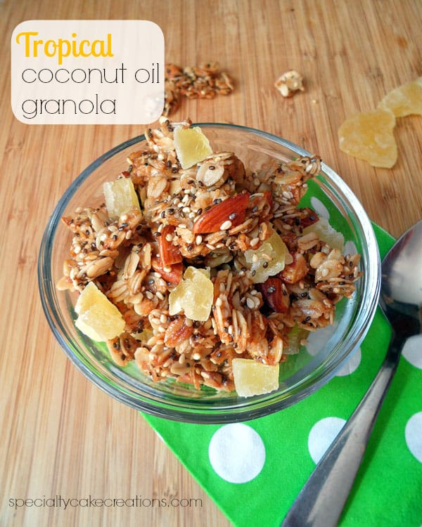 Tropical Coconut Oil Granola + Giveaway for 1 Gallon Organic Coconut Oil | leelalicious.com