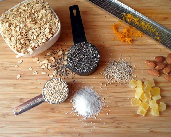 Tropical Coconut Oil Granola Ingredients