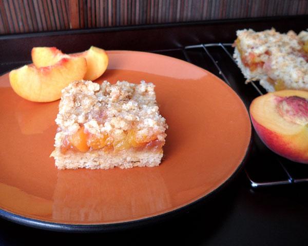 Peach Bar on Orange Plate