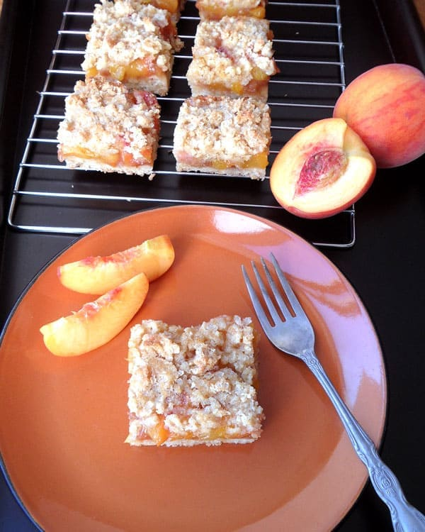 Healthier Peach Crumb Bars