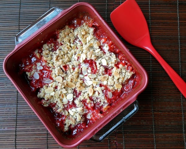 Strawberry Rhubarb Crisp in Dish