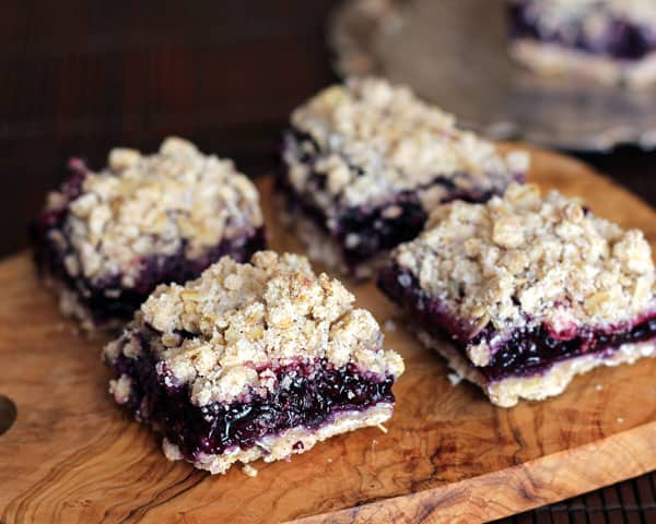 Four Blueberry Apple Crumble Bars