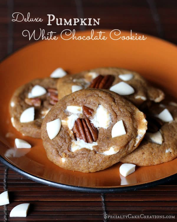 Deluxe Pumpkin White Chocolate Cookies | leelalicious.com