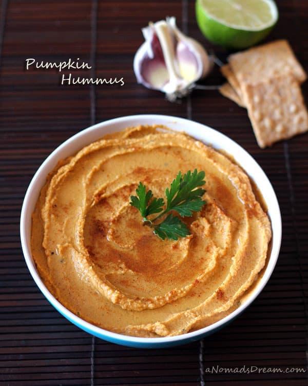 Bowl of Homemade Pumpkin Hummus