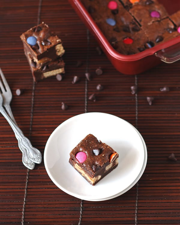 Loaded Halloween Candy Brownies