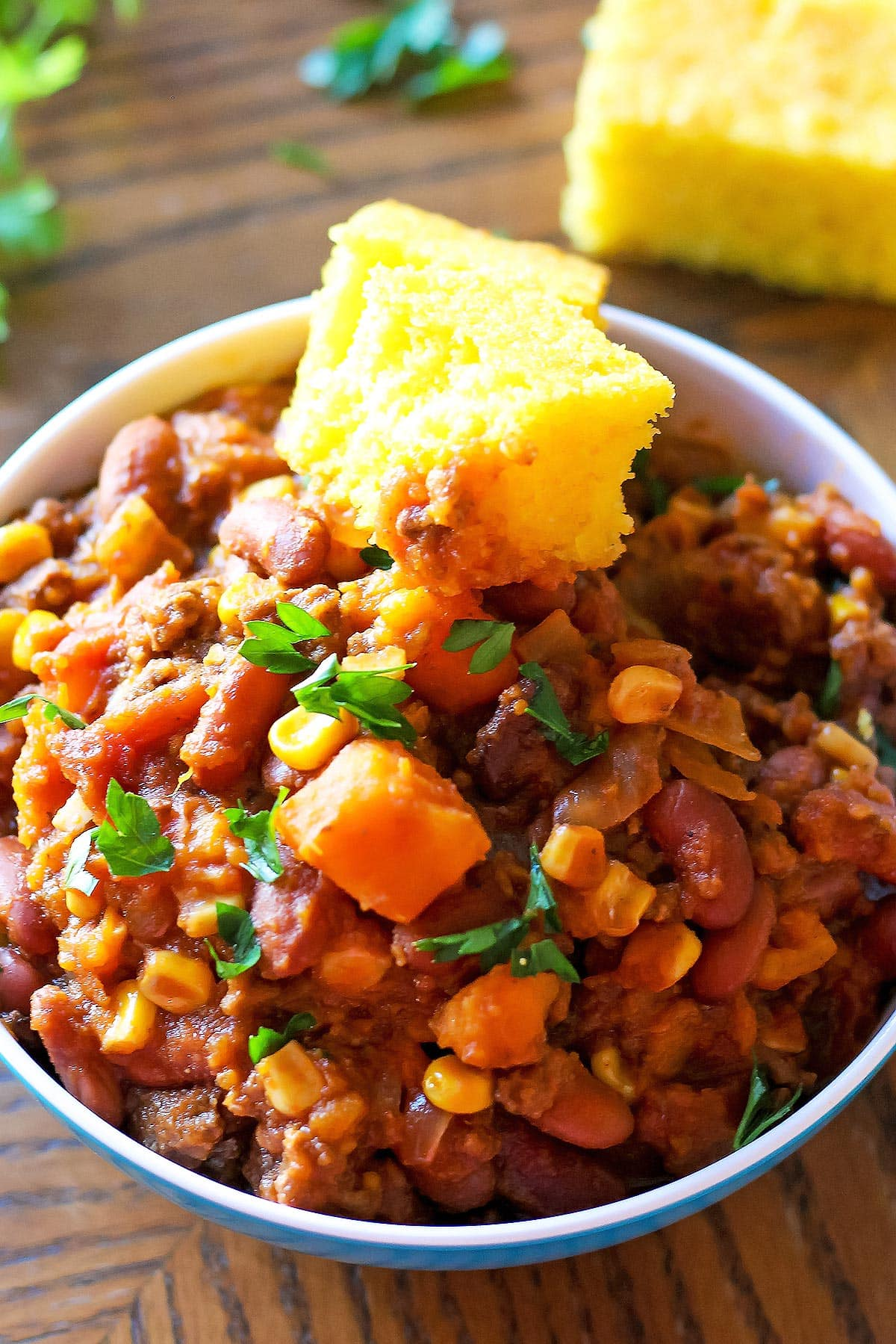 Sweet Potato Chili with Cornbread