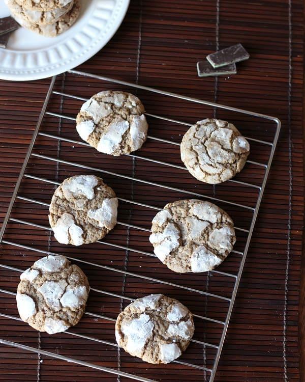 Mint Crinkle Cookies on Rack
