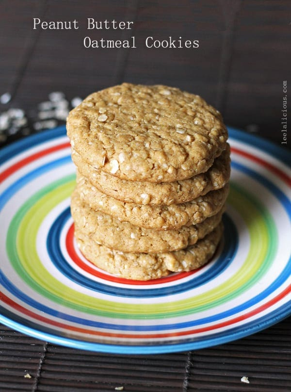 Chewy Peanut Butter Oatmeal Cookies – LeelaLicious