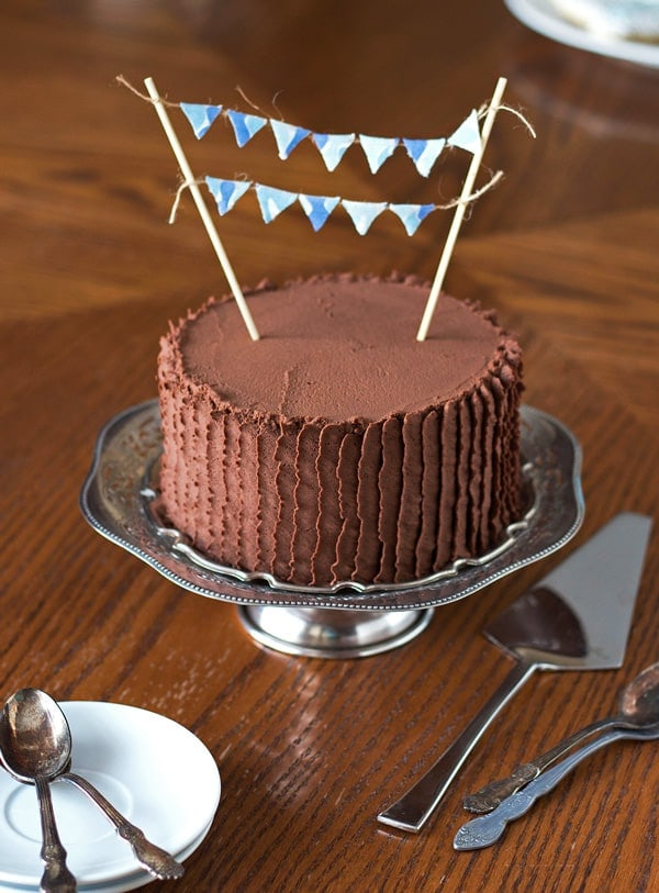 Baby Shower Quadruple Chocolate Cake with Bunting