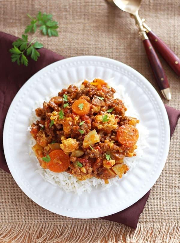 Ground Beef Cauliflower Curry